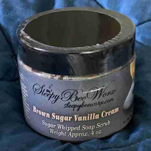 Our sugar whipped Brown Sugar Vanilla Cream Scrub