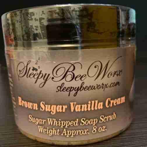 Our sugar whipped Brown Sugar Vanilla Cream Scrub 8 oz